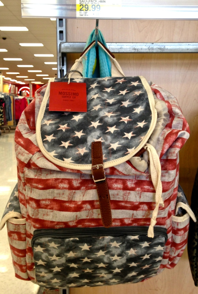 awesome AMURICAN bookbag I saw at Target... too $$ tho