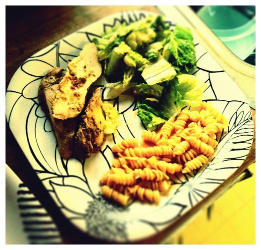 chili lime chicken w/ chipotle rosa pasta & salad, soooo good