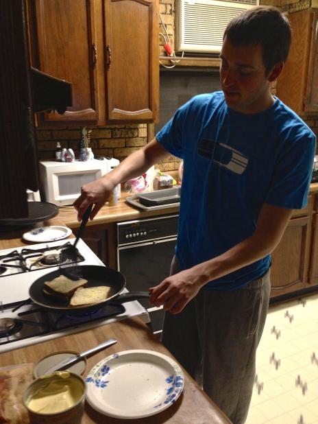 michael makin me some grilled cheese mmmm