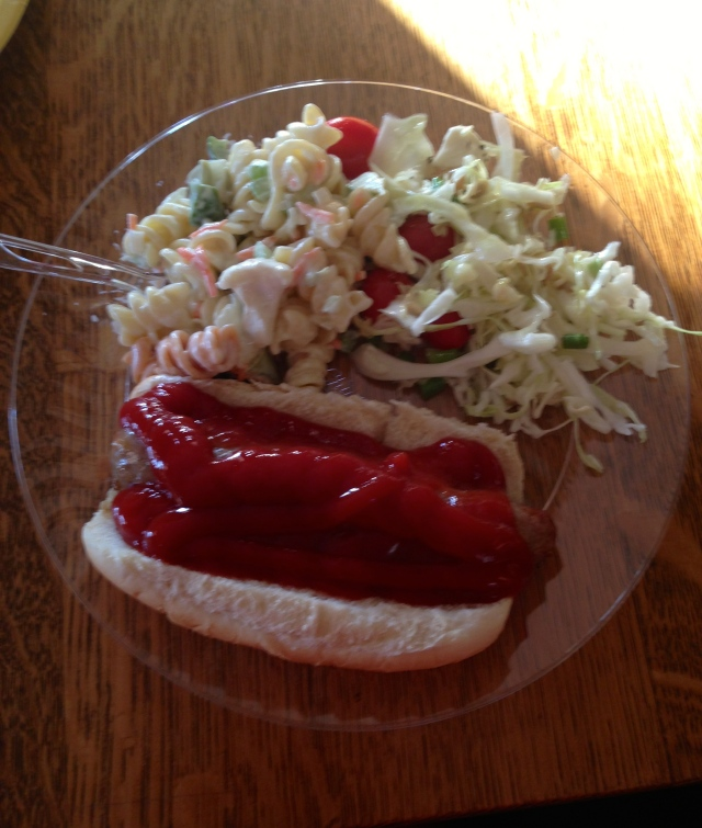 my heaping plate of ketchup, some brat, more ketchup, and yummy salads!