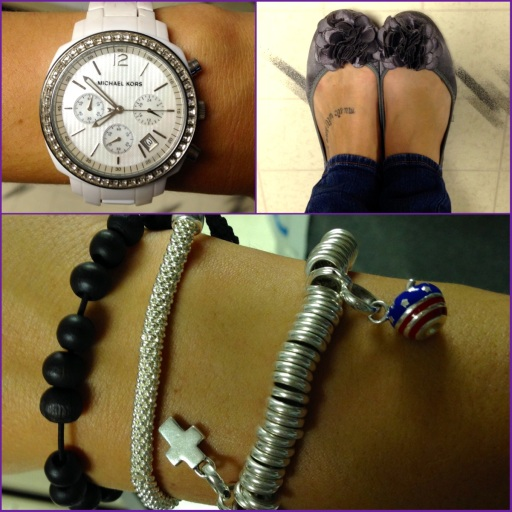 Always wearing my white Michael Kors watch & my 2 silver bracelets from Links. Those are also some beads from Vietnam from one of my bff's. : )